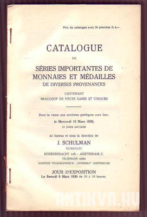 Catalogue de séries importantes de monnaies et médailles de diverses provenances