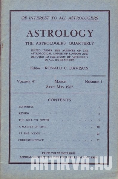 Astrology. The Astrologers' Quarterly. 41. volume