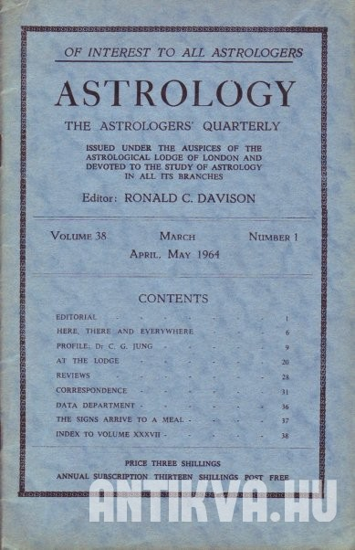 Astrology. The Astrologers' Quarterly. Vol. 38.