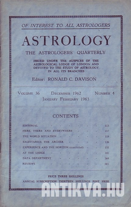 Astrology. The Astrologers' Quarterly. Vol. 36., No. 4.