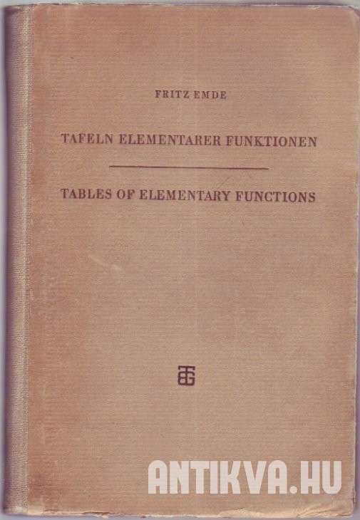 Tafeln elementare Funktionen. Tables of Elementary Functions