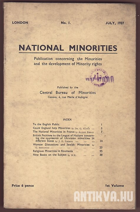 National Minorities. Publication concerning the Minorities and the development of Minority rights 1st Volume No. 1