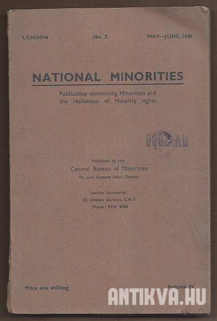 National Minorities. Publication concerning the Minorities and the development of Minority rights Volume IV No. 2