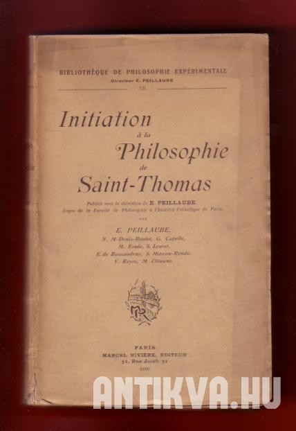 Initation á la Philosophie de Saint Thomas