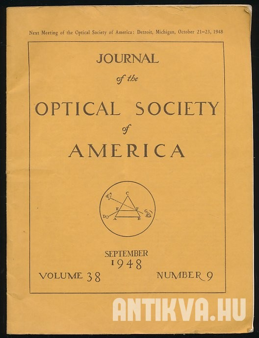 Journal of the Optical Society of America. Volume 38. No. 9., September 1948.