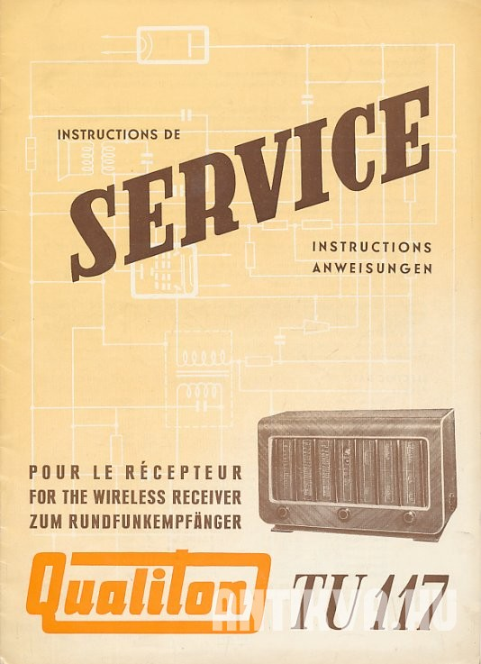 Instructions de Service. Qualiton TU 117