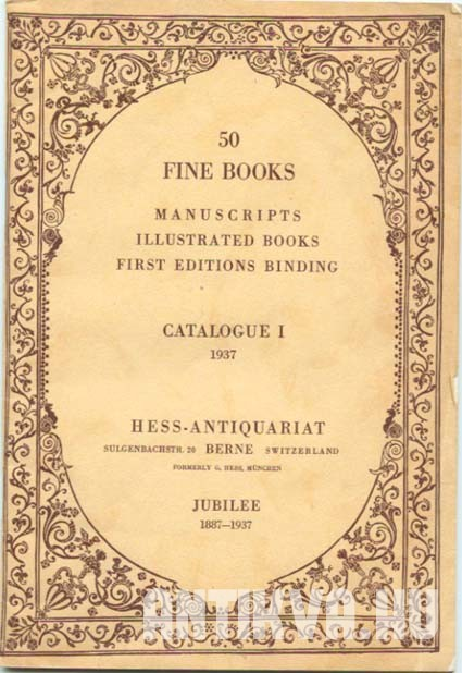 50 Fine Books. Manuscripts, Illustrated Books, First Editions Binding. Jubilee 1887-1937.