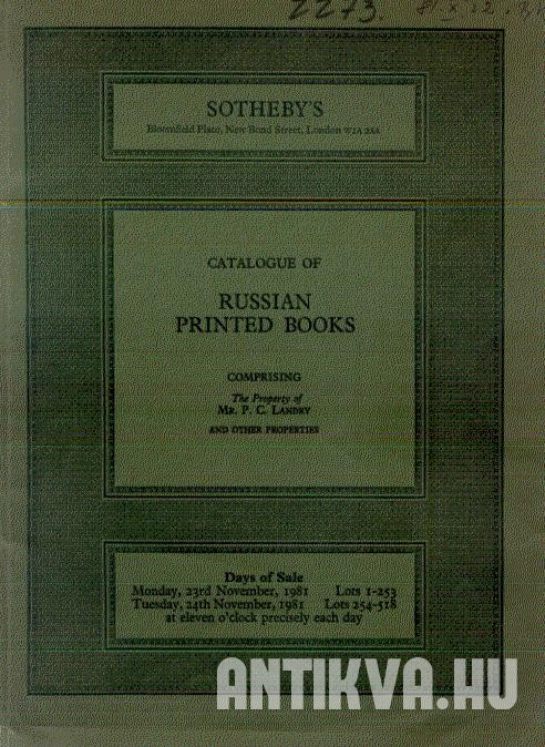 Catalogue of russian printed book.