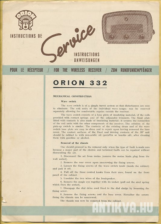 Service: Orion 332. Pour le Récepteur. For the Wireless Receiver. Zum Rundfunkempfänger