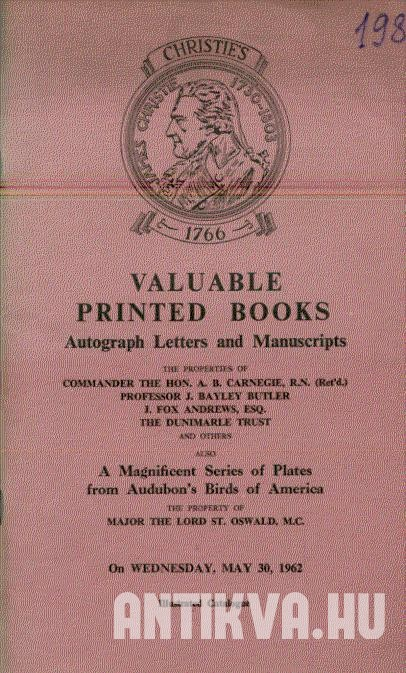 Valuable printed books, Autographs, Lettersand Manuscripts.