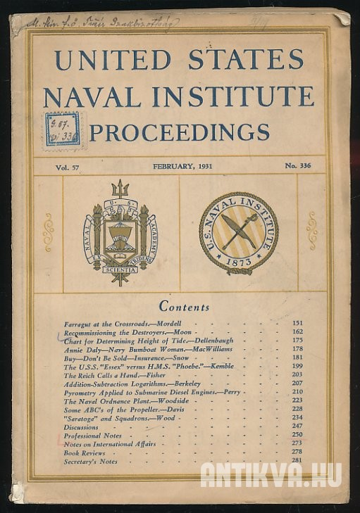 United States Naval Institute Proceedings. Vol 57, No. 336; February, 1931