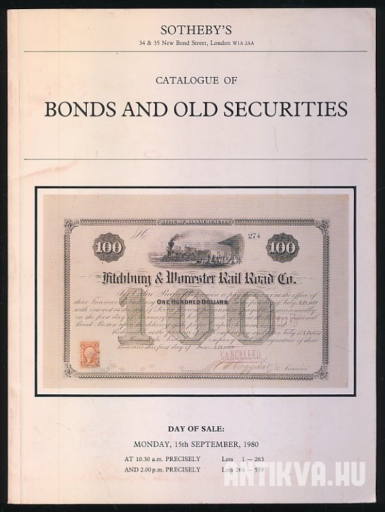 Sotheby's Catalogue of Bonds and Old Securities