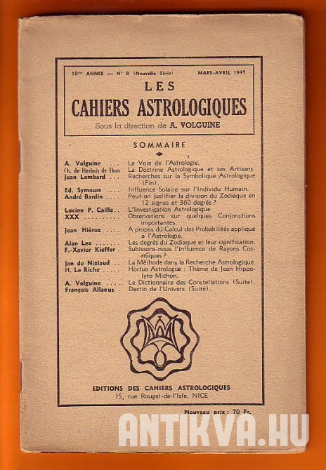Les Cahiers Astrologiques. Mars-Avril 1947.