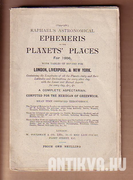 Ephemeris of the Planets' Places for 1906